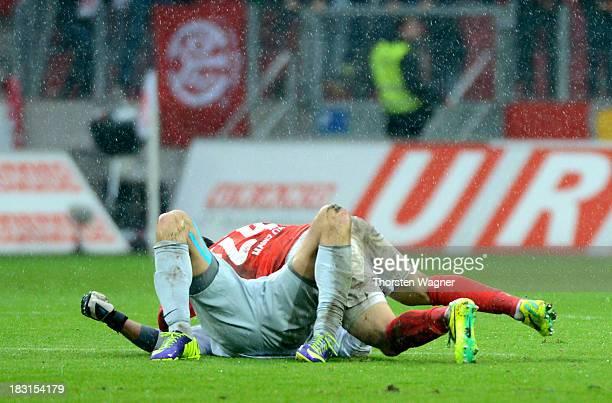 Goalkeeper Heinz Mueller of Mainz celebrates after his team mate Nikolce Noveski is scoring his teams second goal during the Bundesliga match between...