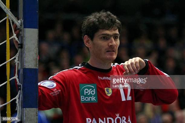 Goalkeeper Henning Fritz of Rhein Neckar is seen during the Handball Bundesliga match between TBV Lemgo and Rhein Neckar Loewen at the...