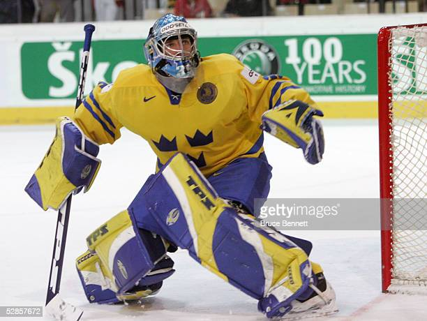 Goalkeeper Henrik Lundqvist of Sweden in action against Switzerland in the IIHF World Men's Championships quarterfinal game at the Olympic Hall on...