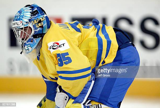 Goalkeeper, Henrik Lundqvist of Sweden watches play against Finland in the IIHF World Men's Championships preliminary round game at the Olympic Hall...