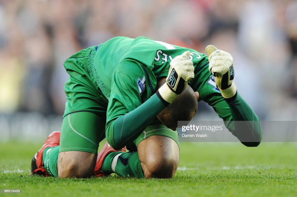 Goalkeeper Heurelho Gomes of Tottenham Hotspur reacts during the Barclays Premier League match between Tottenham Hotspur and Chelsea at White Hart Lane on April 17, 2010 in London, England.