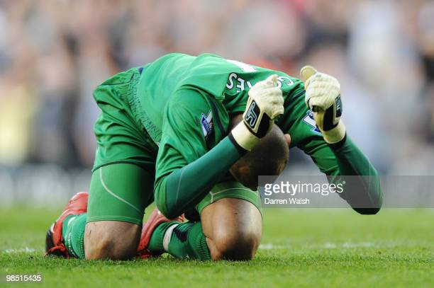 Goalkeeper Heurelho Gomes of Tottenham Hotspur reacts during the Barclays Premier League match between Tottenham Hotspur and Chelsea at White Hart...