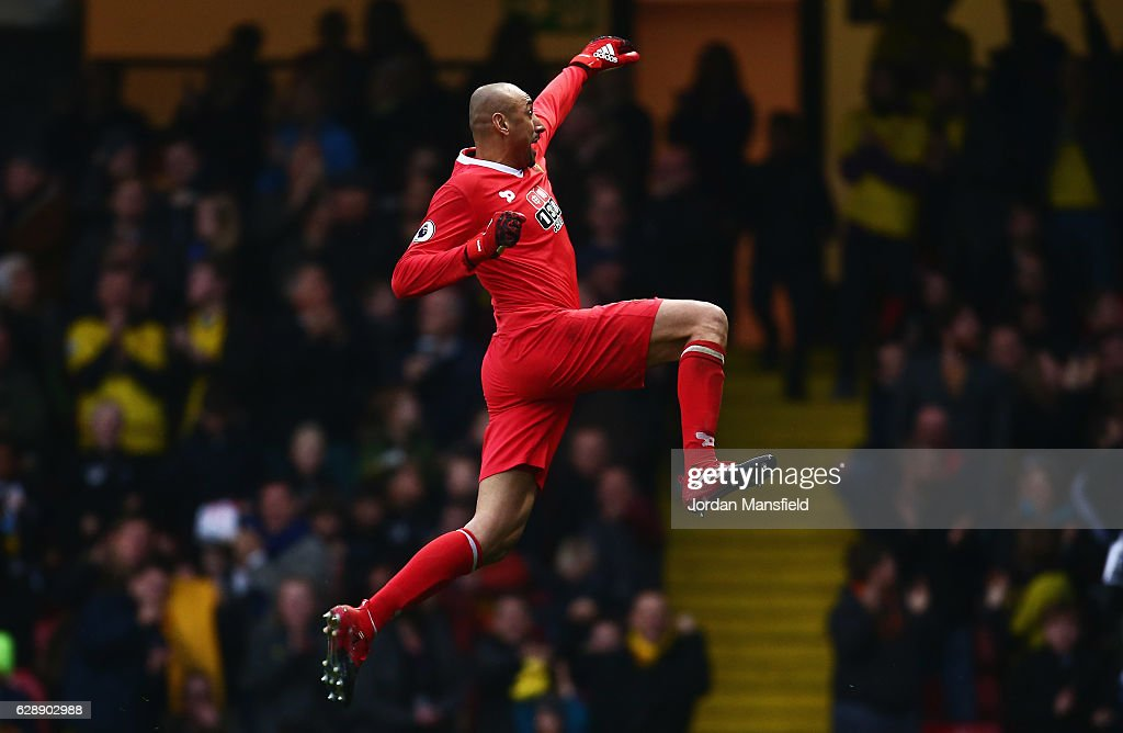 Goalkeeper Heurelho Gomes of Watford celebrates as Stefano Okaka of Watford scores their third goal during the Premier League match between Watford and Everton at Vicarage Road on December 10, 2016 in Watford, England.