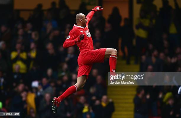 Goalkeeper Heurelho Gomes of Watford celebrates as Stefano Okaka of Watford scores their third goal during the Premier League match between Watford...