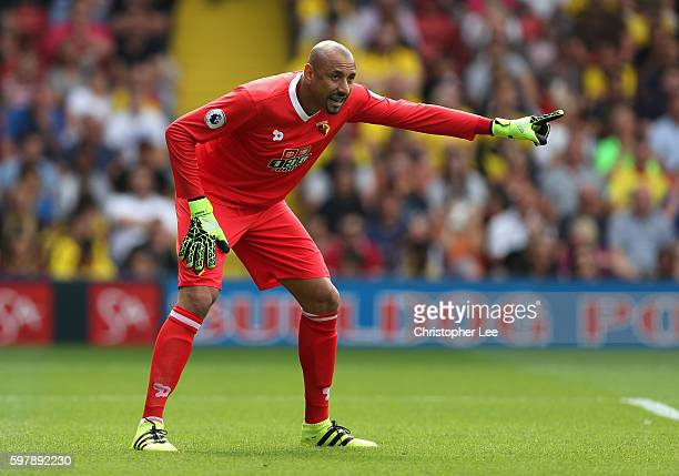 Goalkeeper Heurelho Gomes of Watford in action during the Premier League match between Watford and Arsenal at Vicarage Road on August 27 2016 in...