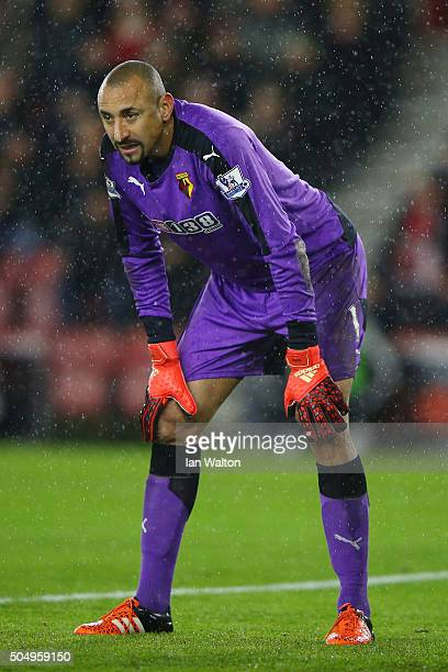 Goalkeeper Heurelho Gomes of Watford looks on during the Barclays Premier League match between Southampton and West Bromwich Albion at St Mary's...
