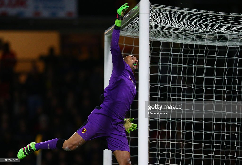 Goalkeeper Heurelho Gomes of Watford tips the ball over the crossbar during the Barclays Premier League match between Watford and Chelsea at Vicarage Road on February 3, 2016 in Watford, England.