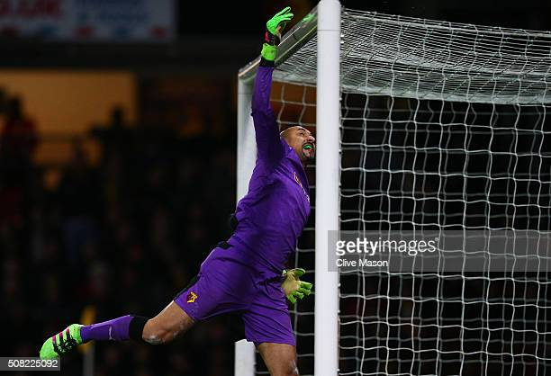 Goalkeeper Heurelho Gomes of Watford tips the ball over the crossbar during the Barclays Premier League match between Watford and Chelsea at Vicarage...