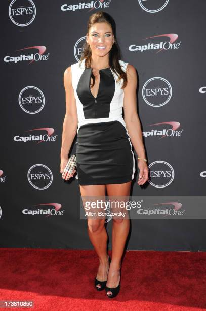 Goalkeeper Hope Solo arrives at the 2013 ESPY Awards at Nokia Theatre LA Live on July 17 2013 in Los Angeles California