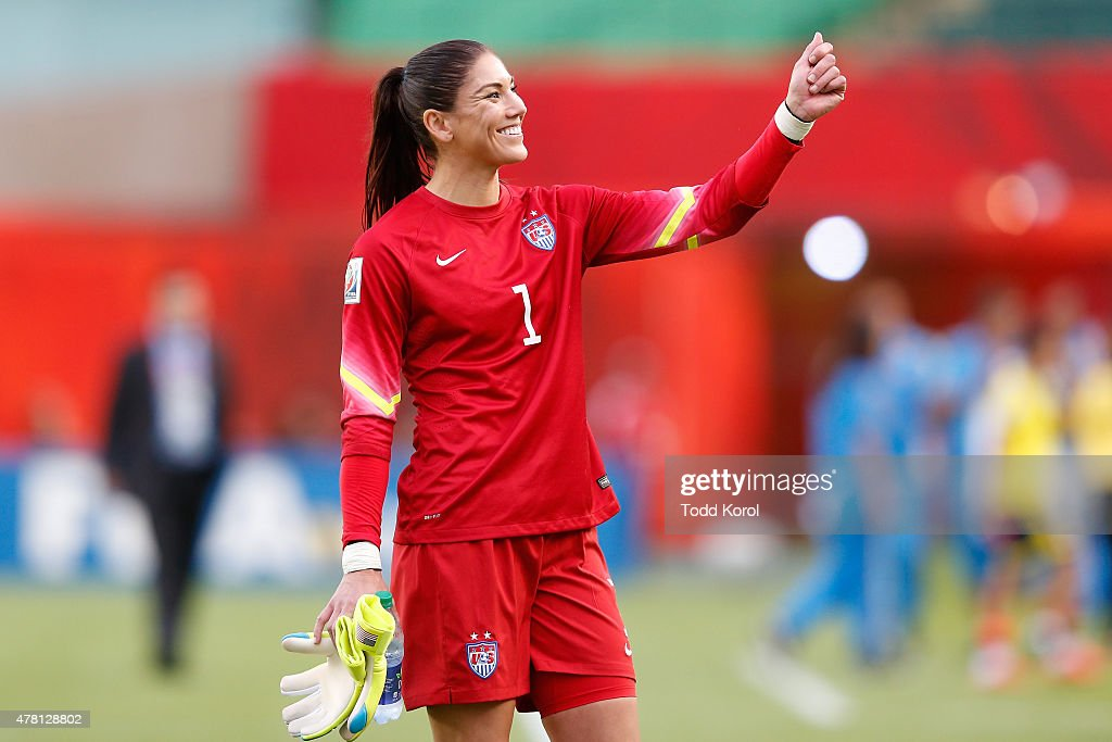 Goalkeeper Hope Solo #1 of the United States celebrates after the USA 2-0 win against Colombia in the FIFA Women's World Cup 2015 Round of 16 match at Commonwealth Stadium on June 22, 2015 in Edmonton, Canada.