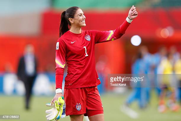 Goalkeeper Hope Solo of the United States celebrates after the USA 2-0 win against Colombia in the FIFA Women's World Cup 2015 Round of 16 match at...