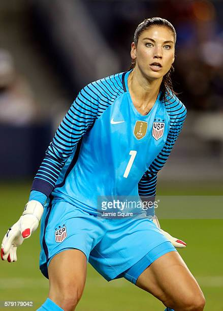 Goalkeeper Hope Solo of the United States in action during the game against Costa Rica at Children's Mercy Park on July 22, 2016 in Kansas City,...