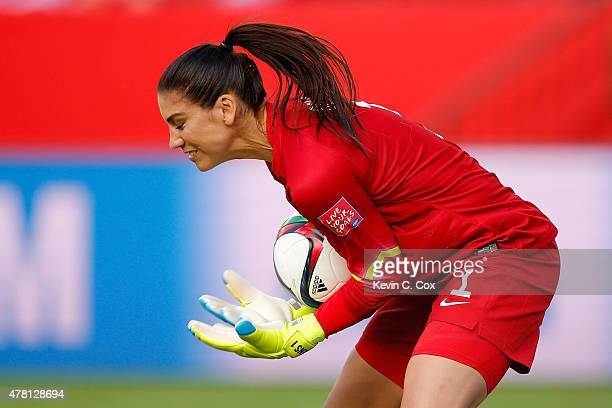Goalkeeper Hope Solo of the United States makes a save in the second half against Colombia in the FIFA Women's World Cup 2015 Round of 16 match at...