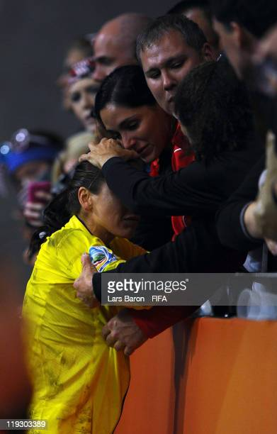 Goalkeeper Hope Solo of USA looks dejected after loosing the FIFA Women's World Cup Final match between Japan and USA at the FIFA Women's World Cup...