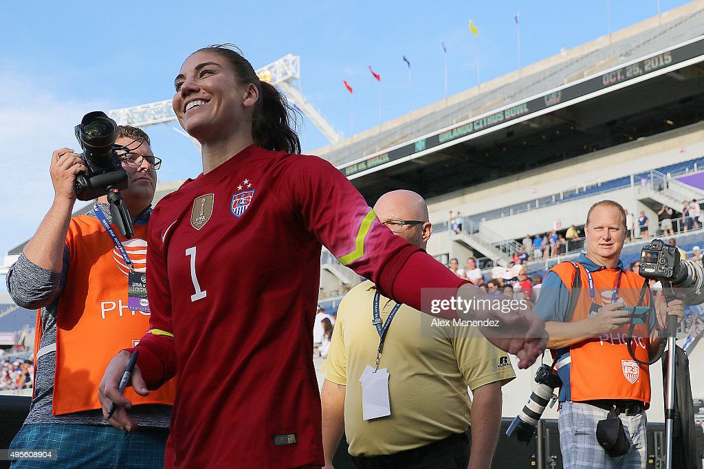 Goalkeeper Hope Solo #1 of USWNT walks off the field after a women's international friendly soccer match between Brazil and the United States at the Orlando Citrus Bowl on October 25, 2015 in Orlando, Florida. The United States won the match 3-1.