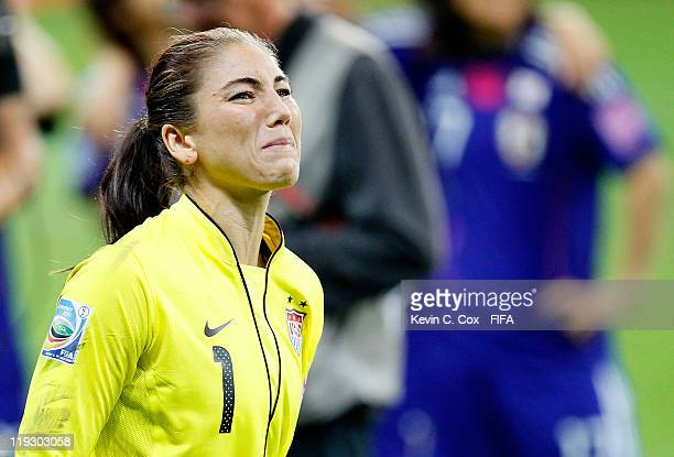 Goalkeeper Hope Solo reacts after falling to Japan in the FIFA Women's World Cup Final match between Japan and USA at the FIFA World Cup Stadium...