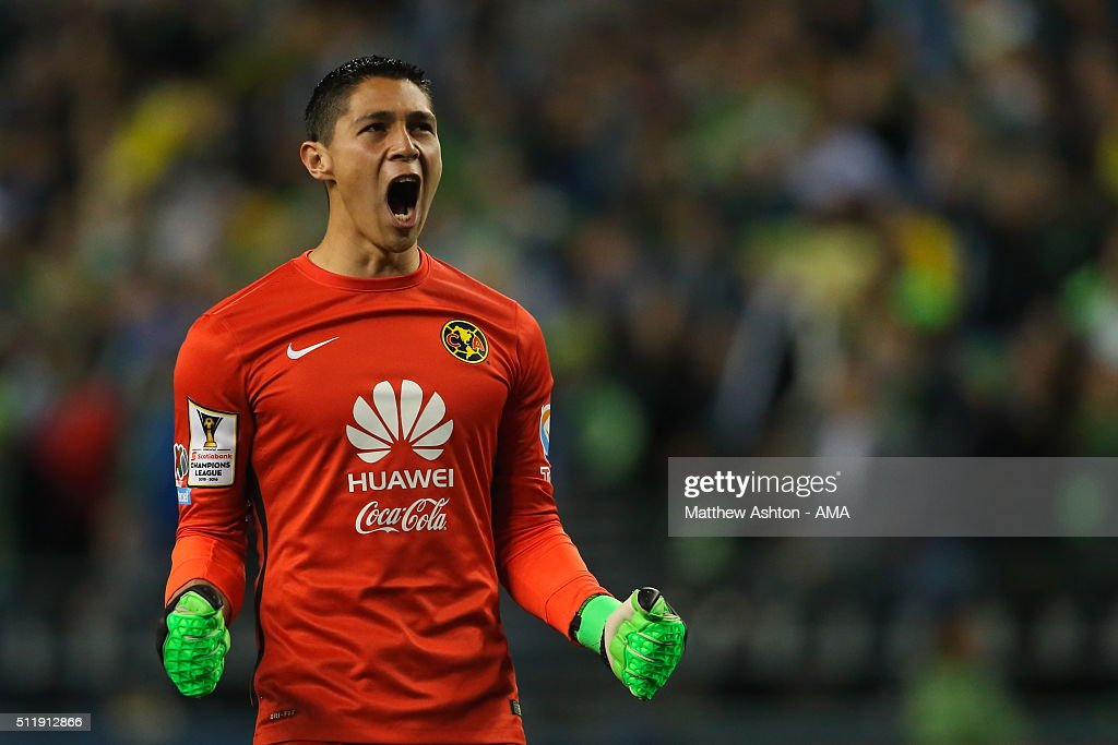 Goalkeeper Hugo Gonzalez of Club America celebrates as his team scores a goal to make it 2-2 during the CONCACAF Champions League match between Seattle Sounders and Club America at CenturyLink Field on February 23, 2016 in Seattle, Washington.