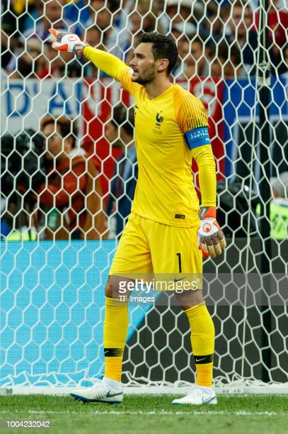 goalkeeper Hugo Lloris of France gestures during the 2018 FIFA World Cup Russia Final between France and Croatia at Luzhniki Stadium on July 15 2018...