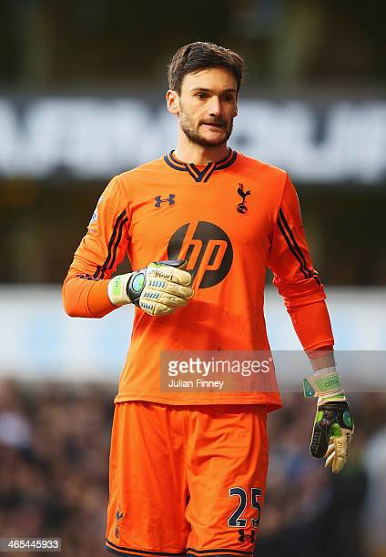 Goalkeeper Hugo Lloris of Tottenham Hotspur looks on during the Barclays Premier League match between Tottenham Hotspur and Crystal Palace at White...
