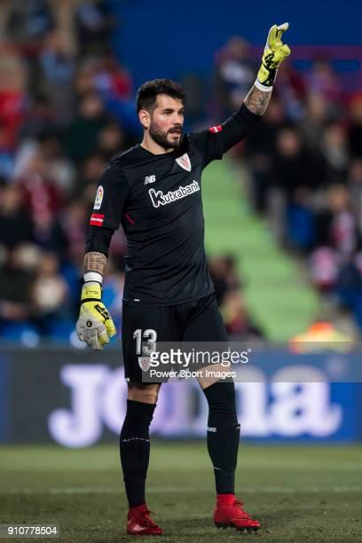 Goalkeeper Iago Herrerin Buisan of Athletic Club de Bilbao gestures during the La Liga 201718 match between Getafe CF and Athletic Club de Bilbao at...