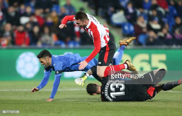 Goalkeeper Iago Herrerin of Athletic Club in action during the La Liga match between Getafe and Athletic Club at Coliseum Alfonso Perez on January 19...
