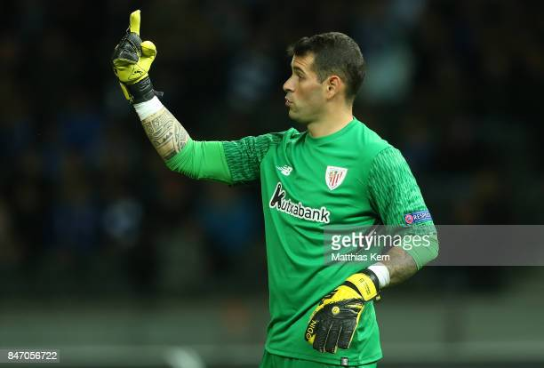 Goalkeeper Iago Herrerin of Bilbao gestures during the UEFA Europa League group J match between Hertha BSC and Athletic Bilbao at Olympiastadion on...