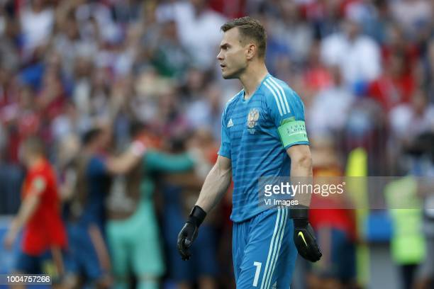 goalkeeper Igor Akinfeev of Russia during the 2018 FIFA World Cup Russia round of 16 match between Spain and Russia at the Luzhniki Stadium on July...