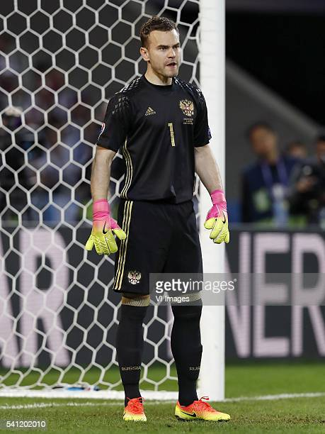 goalkeeper Igor Akinfeev of Russia during the UEFA EURO 2016 Group B group stage match between Russia and Slovakia at the Stade Pierremauroy on june...