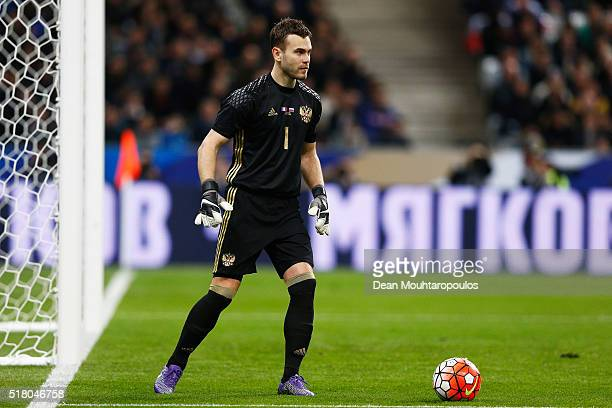 Goalkeeper Igor Akinfeev of Russia in action during the International Friendly match between France and Russia held at Stade de France on March 29...