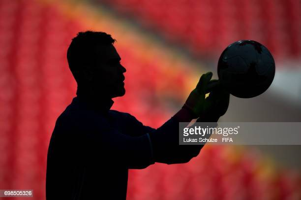 Goalkeeper Igor Akinfejew of Russia catches a ball during a training session at Spartak Stadium during the FIFA Confederations Cup Russia 2017 on...