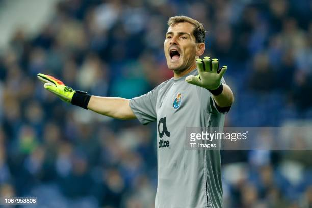 Goalkeeper Iker Casillas of Porto gestures during the Group D match of the UEFA Champions League between FC Porto and FC Schalke 04 at Estadio do...