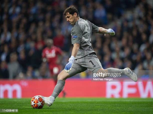 Goalkeeper Iker Casillas of Porto seen during the UEFA Champions League Quarter Final second leg match between Porto and Liverpool at Estadio do...