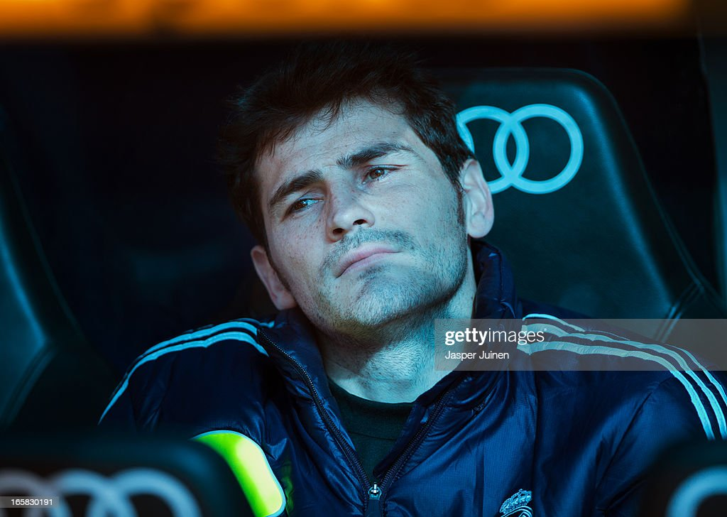 Goalkeeper Iker Casillas of Real Madrid, back from an injury, sits on the bench during the la Liga match between Real Madrid CF and Levante UD at Estadio Santiago Bernabeu on April 6, 2013 in Madrid, Spain.
