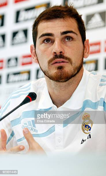 Goalkeeper Iker Casillas of Real Madrid gives a press conference after a training session at Valdebebas on October 25 2009 in Madrid Spain