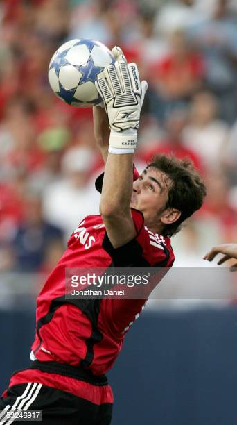 Goalkeeper Iker Casillas of Real Madrid makes a save against Chivas De Guadalajara during a friendly on July 16, 2005 at Soldier Field in Chicago,...