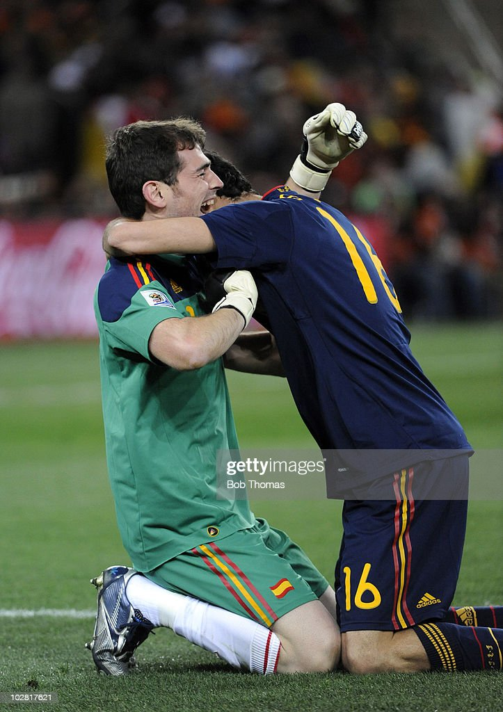 536cb9f283c Goalkeeper Iker Casillas of Spain celebrates his teams goal with ...