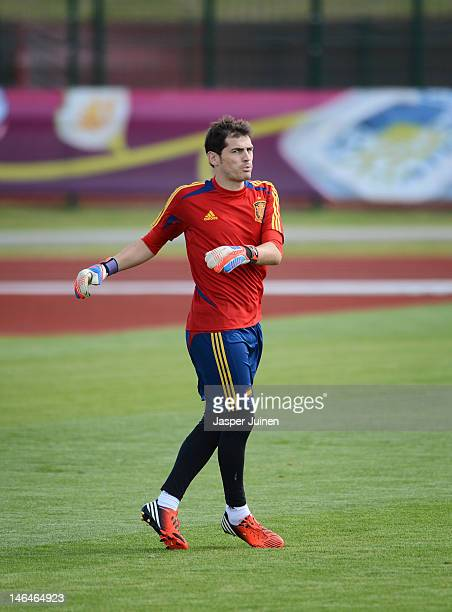 Goalkeeper Iker Casillas of Spain excercises during a training session ahead of their UEFA EURO 2012 group C match against Croatia on June 17 2012 in...