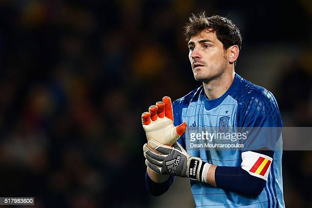Goalkeeper Iker Casillas of Spain looks on during the International Friendly match between Romania and Spain held at the Cluj Arena on March 27 2016...