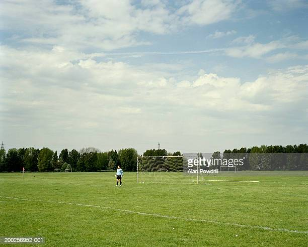 goalkeeper in football field - football pitch stock pictures, royalty-free photos & images