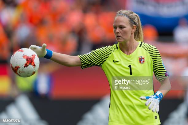 Goalkeeper Ingrid Hjelmseth of Norway controls the ball during their Group A match between Netherlands and Norway during the UEFA Women's Euro 2017...