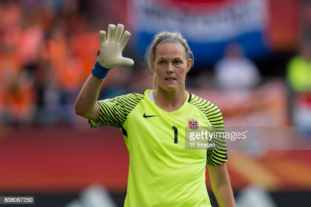 Goalkeeper Ingrid Hjelmseth of Norway gestures during their Group A match between Netherlands and Norway during the UEFA Women's Euro 2017 at Stadion...