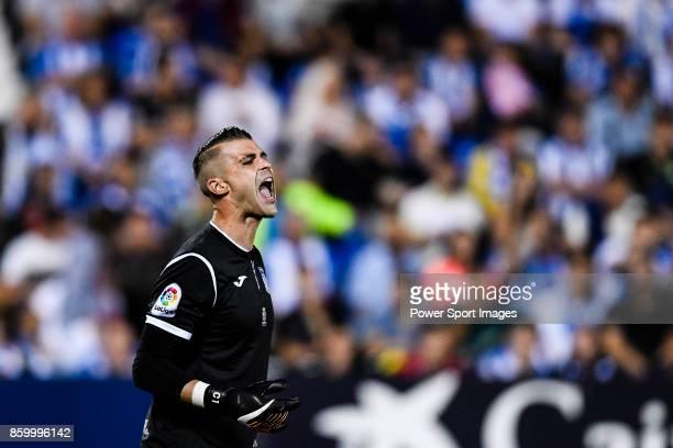 Goalkeeper Ivan Cuellar Sacristan of CD Leganes reacts during the La Liga 201718 match between CD Leganes and Atletico de Madrid on 30 September 2017...