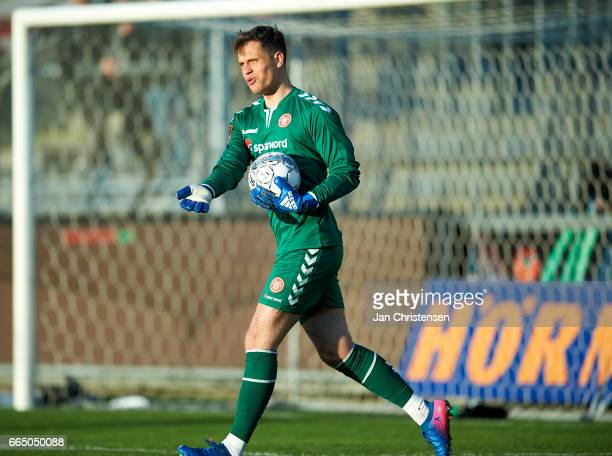 Goalkeeper Ivan Lucic of AaB Aalborg in action during the Danish Cup DBU Pokalen Quarterfinal match between AaB Aalborg and FC Midtjylland at Aalborg...