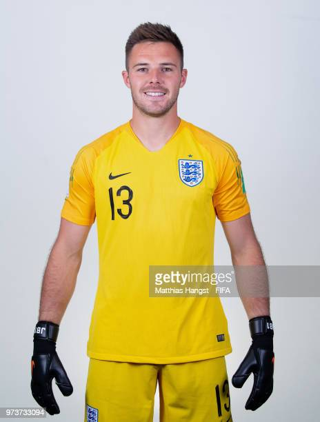 Goalkeeper Jack Butland of England poses for a portrait during the official FIFA World Cup 2018 portrait session at on June 13 2018 in Saint...