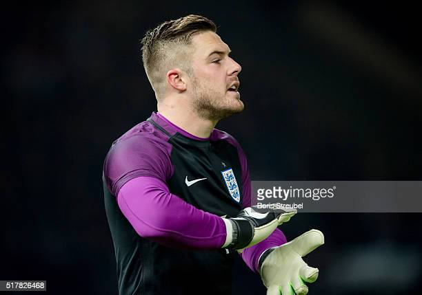 Goalkeeper Jack Butland of England reacts during the International Friendly match between Germany and England at Olympiastadion on March 26 2016 in...