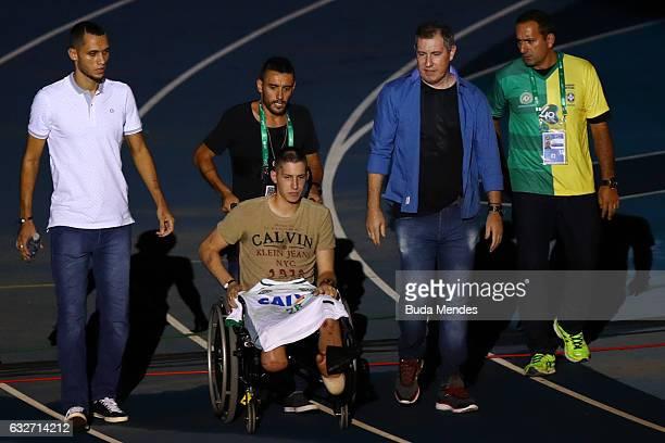 Goalkeeper Jackson Follmann Alan Ruschel Neto and Rafael Henzel who survived when the plane carrying Brazilian soccer team Chapecoense crashed enter...