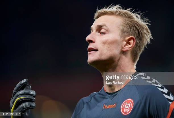 Goalkeeper Jacob Rinne of AaB Aalborg during the Danish Superliga match between Brondby IF and AaB Aalborg at Brondby Stadion on March 10 2019 in...