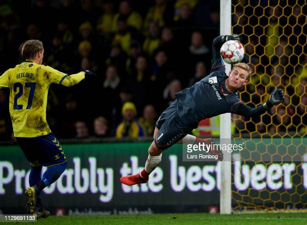 Goalkeeper Jacob Rinne of AaB Aalborg in action during the Danish Superliga match between Brondby IF and AaB Aalborg at Brondby Stadion on March 10...