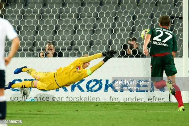 Goalkeeper Jacob Rinne of AaB Aalborg save a penalty kick during the Danish Superliga match between AGF Arhus and AaB Aalborg at Ceres Park on...
