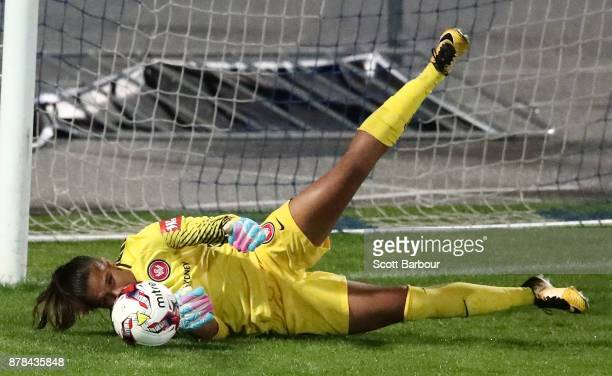 Goalkeeper Jada MathyssenWhyman of the Wanderers controls the ball during the round eight WLeague match between the Melbourne Victory and Western...